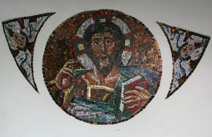 Bodor Z.: Pantokrátor (mozaik, átm. 82 cm) 1993. Magyar ortodox plébánia, Szeged