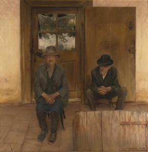 Balogh Gyula: Két öreg (olaj, vászon, 180x180 cm) 1980.
