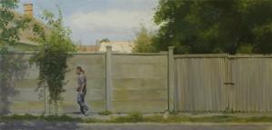 Bodor Z.: A Szent István tér 15. előtt (68x144 cm, olaj, vászon) 2012.