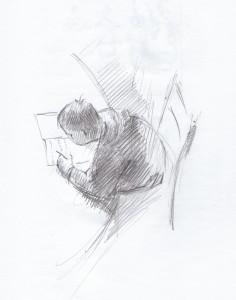 Bodor Z.: Egy kis tanulás a lenti asztalnál (ceruza, papír, 223x176 mm)