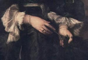 Van Dyck: Marie de Raet arcképe, részlet (olaj, vászon, 213x120 cm)