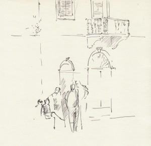 Bodor Z.: Beszélgetők (toll, papír, 185x190 mm)