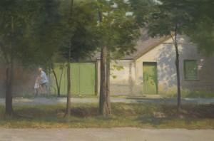 Bodor Z.: Kifelé kerékpározó (olaj, vászon, 60x90 cm)