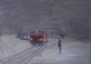 Bodor Zoltán: Délutáni vonat (olaj, vászon, 50x70 cm)