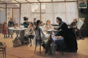Halmi Artúr: Vizsga után (olaj, vászon, 125x186,5 cm) 1890