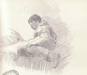 Bodor Z.: János olvas valamit (ceruza, papír)