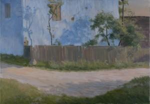Bodor Z.: Kék ház (olaj, vászon, 50x70 cm) 2014.