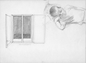 Bodor Z.: Misi alszik (ceruza, papír, 170x230 mm) 1992 k.