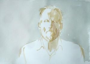Bodor Z.: Szkok Iván arcképe-első nap (akvarell, papír, 38x56 cm)