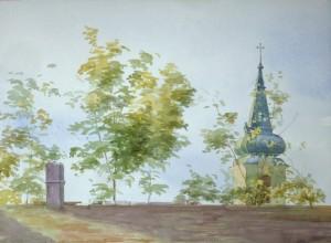 Bodor Z.: Tető toronnyal (akvarell, papír, 36x50 cm)