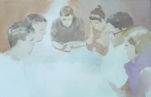 Bodor Z.: A társasjáték (akvarell, papír, 38x56 cm) 2012.