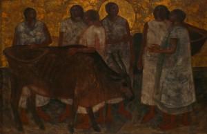 Németh József: Assznyok tehénnel (olaj, vászon)