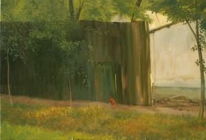 Palánk meggyfával (80x120 cm, olaj, vászon)