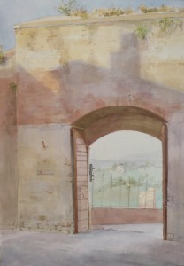 Bodor Zoltán: Porta Laterina (akvarell, papír, 68x48 cm)