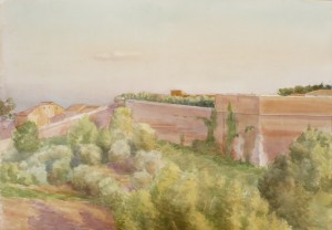Bodor Zoltán: Városfal (akvarell, papír, 48x68 cm)
