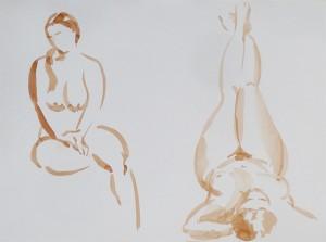 Bodor Z.: Két kroki (akvarell, papír)