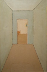 Czimra Gyula: Kékfalú szoba (olaj, farost, 45x29 cm) 1965.
