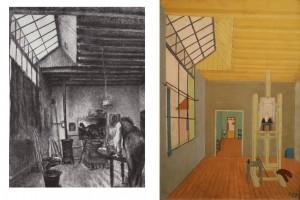 Czimra Gyula: Paizs-Goebel Jenő a műtermében (szén, papír, 62x 48 cm) 1952. és Műterem (olaj, farost, 48x34 cm) 1963.