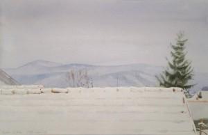 Bodor Z.: Havas háztető (akvarell, papír, 35,5x54 cm) 2013.