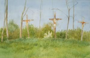 Bodor Z.: Nagypénteken festett kálvária (akvarell, papír, 36x53 cm) 2011.