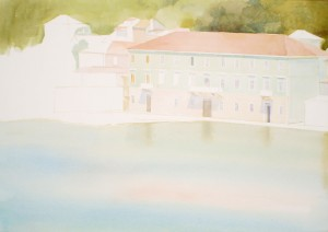 Bodor Z.: Kikötőépület, Jelsa (akvarell, papír, 46x66 cm) 2012.