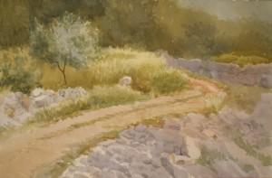 Bodor Z.: Köves út másik irány, Jelsa (Akvarell, papír, 36x54 cm) 2012.
