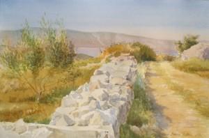 Bodor Z.: Köves út, Jelsa (Akvarell, papír, 36x54 cm) 2012.