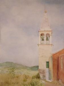 Bodor Zoltán: Fehér torony (akvarell, papír, 68x48 cm) 2010.