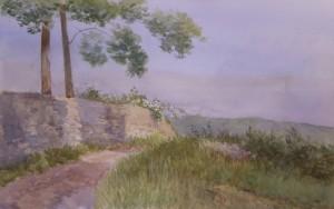 Bodor Zoltán: Kôfal árnyékokkal (akvarell, papír, 36x54 cm) 2010.