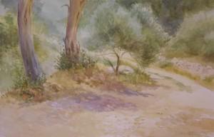 Bodor Zoltán: Olajliget (akvarell, papír, 36x54 cm) 2010.