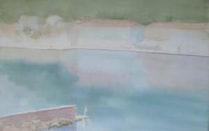 Bodor Z.: Kikötő horgásszal (akvarell, papír, 34x54 cm) 2014.