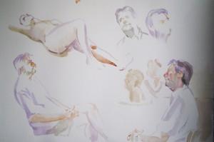 Bodor Z.: Szobrász műterem (akvarell, parír, 38x56 cm)