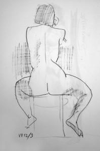 Zsigmond Márton: Kroki (fekete kréta, papír, 42x30 cm)