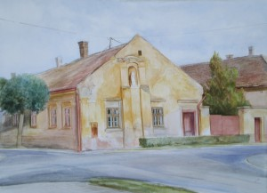 Balogy Gyula: Máriás ház (akvarell, papír)