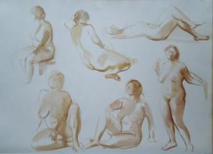 Balogh Gyula: Kroki (akvarell, papír, 48x68 cm)
