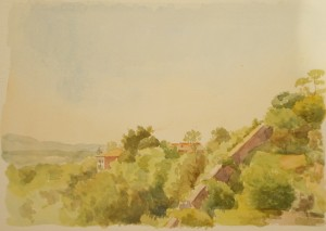 Bodor Z.: Kilátás a sziénai botanikuskertből (akvarell, papír)