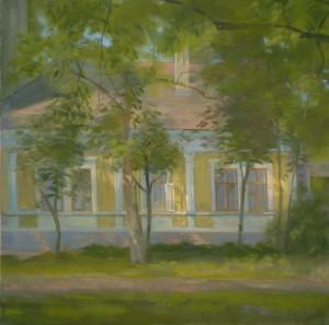 Bodor Z.: Fény és árnyékváltozások egy felújított házon (olaj, vászon, 60x60 cm)