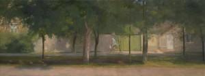 Bodor Z.: Fény és árnyékváltozások a Szent István téren (olaj, vászon, 60x160 cm)