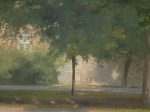 Bodor Z.: Fény és árnyékváltozások a Szent István téren (olaj, vászon)