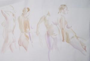 Bodor Z.: Kroki (akvarell, papír) 2010.