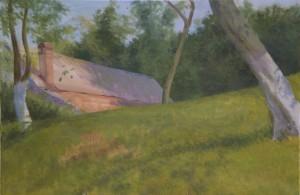 Bodor Z.: Almáskert Felsőbányán (olaj, vászon, 60x90 cm) 2013.