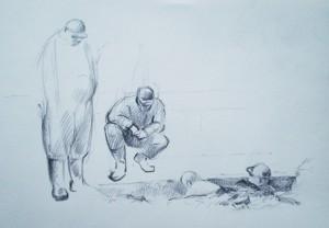 Bodor Z.: Ketten a gödörben (ceruza, papír)