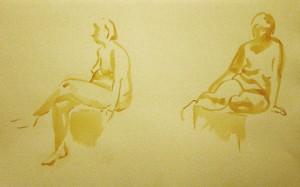 Bodor Z.: Kroki (akvarell, papír)