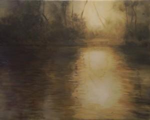 Bodor Z.: Mártélyi naplemente ráközelítve (40x50 cm olaj, vászon)