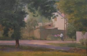 Bodor Z.: A Szent István tér sarka (olaj, vászon, 80x120 cm) 2013.