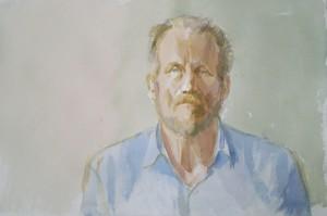 Bodor Z.: Szkok Iván arcképe-második nap (akvarell, papír, 38x56 cm)
