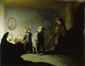 Rembrandt: S....gre pacsi (olaj, fa, 20x26 cm)