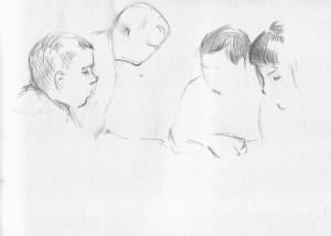 Bodor Z.: Társasjáték (ceruza, papír, 207x284 mm)