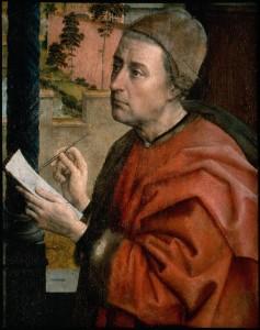 Rogier van der Weyden: Szent Lukács Szűz Máriát rajzolja (részlet)