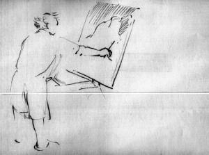 Bodor Z.: Vincze Laci fest (ceruza, papír, 192x260 mm)